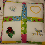 PERSONALISED EMBROIDERED CUSHION WITH BUG AND FLOWER THEME - (Lady Bird, Daisies and Dragonfly)